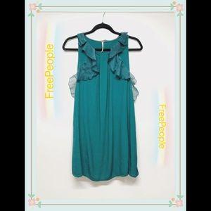 FreePeople Green sleeveless Ruffle Dress size 10
